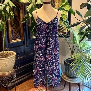 Urban Outfitters navy floral chiffon tank sundress
